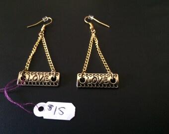 Gold Love Dangling Earrings