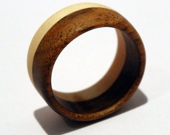 """Coffee"", jewel colored wooden ring"