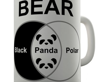 Bears Venn Diagram Black White Panda Ceramic Tea Mug