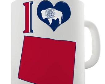 I Love Wyoming State Ceramic Tea Mug
