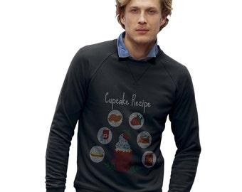 Men's Cupcake Recipe Rhinestone Sweatshirt