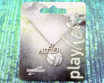 Customized Enamel Volleyball Hitter Necklace - Personalize with Jersey Number, Heart Charm, or Letter Charm! Great Volleyball Gift!