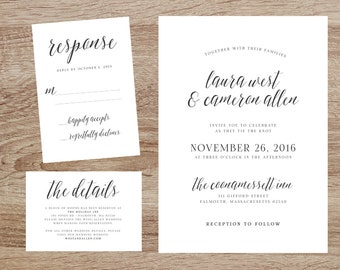Printable wedding invitation suite, Modern wedding invitation set, Printable wedding invitation, Elegant wedding invitation suite