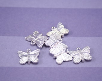 DESTASH Butterfly Charms 6 pcs, Bright Silver Base Metal Charms, Nature Charms