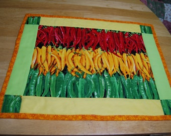 Hot  Peppers Quilted Placemats