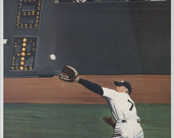 "Mickey Mantle ""Mantle's Perfect Catch"" limited edition lithograph Andy Jurinko print art Rare"