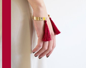 Golden bangle cuff with tassels (fringes) redhead