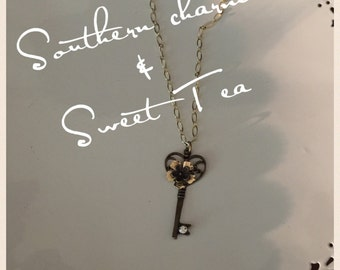Elegant Bronze and gold Key Necklace