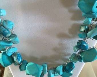36 turquoise beads on silver wire