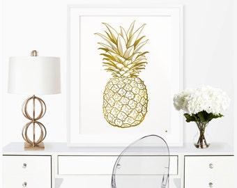Pineapple Art Print/Real Gold Foil Wall Art