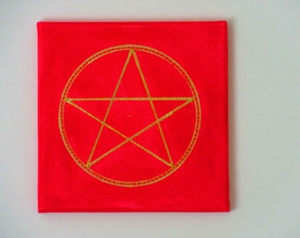 Painting, acrylic, handpainted, art, protection symbol, red, gold, magic, mysticism,