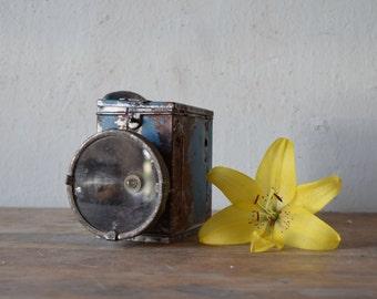 Vintage flashlight / Soviet flashlight / Old metal flashlight / Old blue flashlight / Rustic decor / Home decor / Made in USSR
