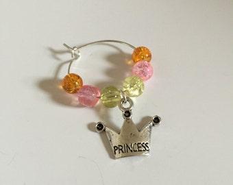 Princess Wine Glass Charm