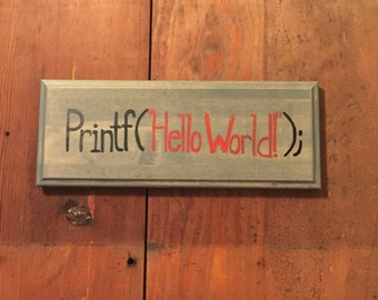 Hello World Programming Sign