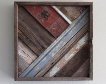 Square Wood Wall Art, Repurposed, Barn, Farm, Reclaimed, rustic,