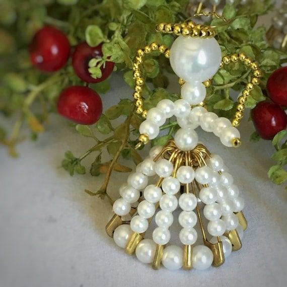 Bead Angel Ornament/Handmade Christmas/Winter Wedding Favor/Pearl Bead/White & Gold/ Grandmas House/Safety Pin Angel/Party Favor