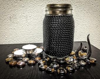 Mason Jar Leather Tealight Candle Holder