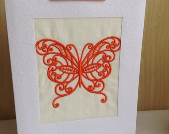 Machine embroidered Butterfly Birthday card