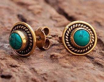 Turquoise Stud Earrings // Turquoise Earrings // Turquoise Ear Studs // Gemstone Earrings // Turquoise Post Earrings // Everyday Earrings