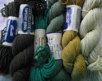 Vintage tapestry/needlepoint/crewel yarn. 100% wool. Yellows, greens. #9924