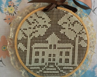 Vintage embroidery hoop school building/church/office/trees