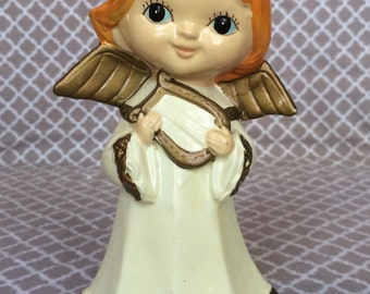 Vintage angel figurine - white robes - orange hair- golden wings and harp