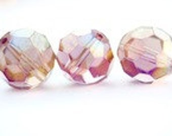 Pink glass beads 14mm faceted round iridescent beads (10pcs)