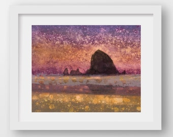 SUNSET HAYSTACK II, limited edition fine art print, Haystack Rock, Cannon Beach, Oregon Coast, coastal art