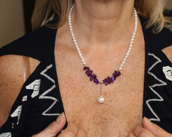 Freshwater Pearl and Amethyst Necklace 14kt Yellow Gold