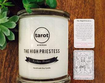 The High Priestess - Tarot Candle - Lychee Peony