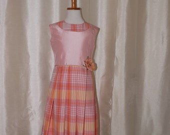 Meloney's design  handmade plaid girls's dress size 10