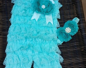 Blue lace romper with shabby chiffon flower headband set