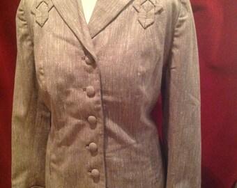 1940s Vintage Ladies Gaberdine  Jacket Tan with Flecks  //  Crestmoor
