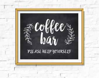 DIY PRINTABLE Rustic Chalkboard Coffee Bar Sign | Instant Download Wedding Ceremony Reception | Rustic Calligraphy Print | WChalk01