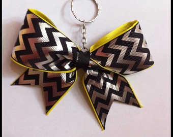 Cheer bow keychain - yellow, black and silver chevron