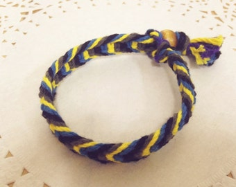 Handmade Thread Bracelet_yellow&navy