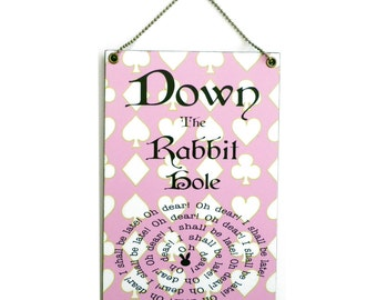 Handmade Wooden Alice In Wonderland ' Down The Rabbit Hole ' Sign 151