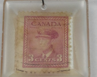 Canadian 3 cent stamp necklace