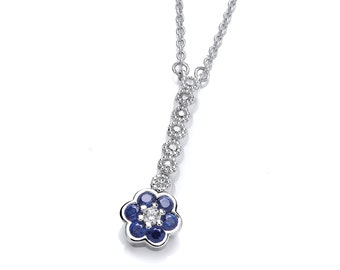 Silver and Sapphire Cubic Zirconia Necklace