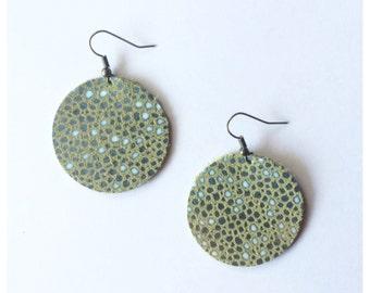 Leather Earrings -- Green Blue Pebble
