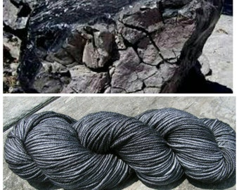 Hand Dyed Yarn, Superwash Merino Worsted Weight Tonal Yarn Perfect for Hats, Cowls, Scarves and Sweaters - Obsidian