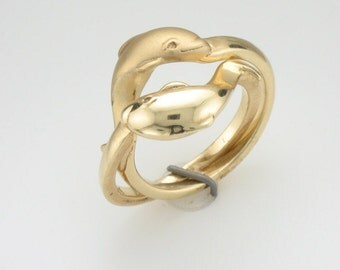 Dolphin Ring - 14K Gold Puzzle Ring - Gold Dolphin Ring - Anniversary Gift - Birthday Gift - Engagement Ring - Valentines Day Gift