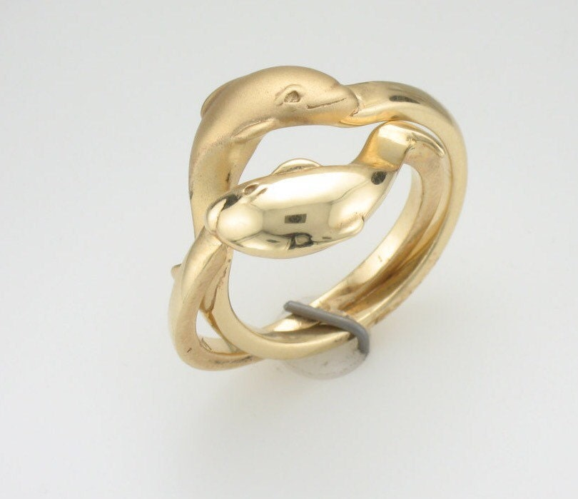 dolphin ring 14k gold puzzle ring gold dolphin ring anniversary gift birthday - Dolphin Wedding Rings