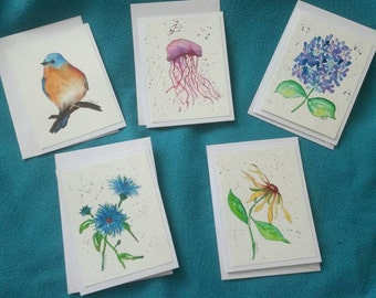 Watercolor cards hand painted envelope included 3.50 each or 5 for 15.00.