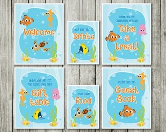 finding nemo nemo table signs baby shower decor nemo birthday