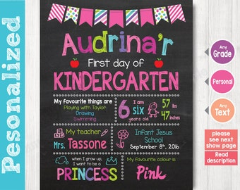 First Day of School Sign - First Day of Chalkboard Sign Printable Photo Prop - Personalized Back to School Pink - ANY GRADE