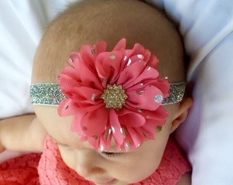 Pink or white flower with silver polka dots, silver glitter elastic and rhinestone embellishment headband, baby, toddler headband,