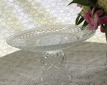 Vintage Clear Cut Glass Cake Dessert Plant Stand