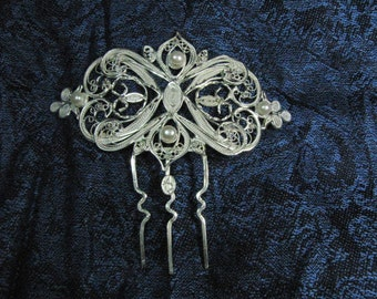 Fine silver filigree hair comb