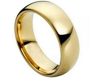 FLASH SALE** Gold Tungsten Ring, Tungsten Wedding Band, Men's Ring, 7mm Tungsten Ring, Sizes 5-15 (w/ half sizes!), Gold Wedding Ring